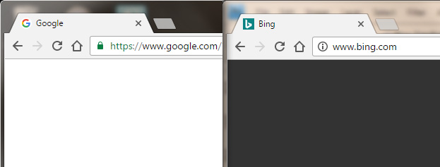 Chrome Browser showing encrypted and unencrypted sites.